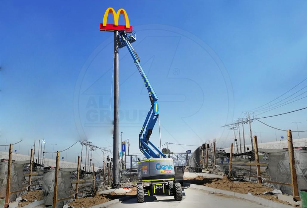 Brazo Genie en cartelería de McDonalds